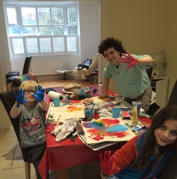 Art Class in Oxford, 2016, 5 year old and 8 year old students